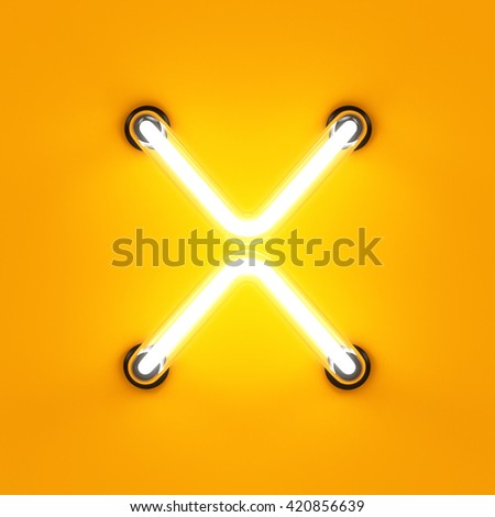 Neon light alphabet character X font. Neon tube letters glow effect on orange background. 3d rendering - stock photo