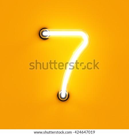 Neon light digit alphabet character 7 seven font. Neon tube letter glow effect on orange background. 3d rendering - stock photo