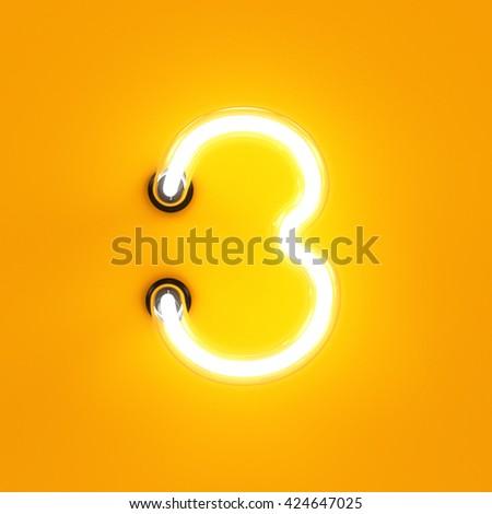 Neon light digit alphabet character 3 three font. Neon tube letter glow effect on orange background. 3d rendering - stock photo