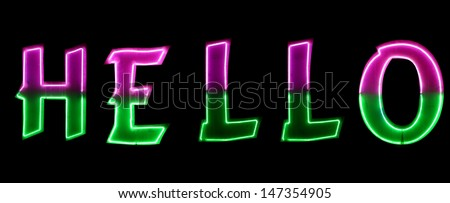 Neon light with the word HELLO - stock photo