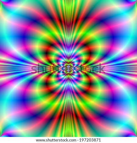 Neon Lights / A digital abstract fractal image with a geometric  neon light design in green red blue and pink.
