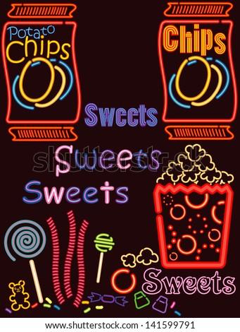 Neon Lights Snack bar 6 - stock photo