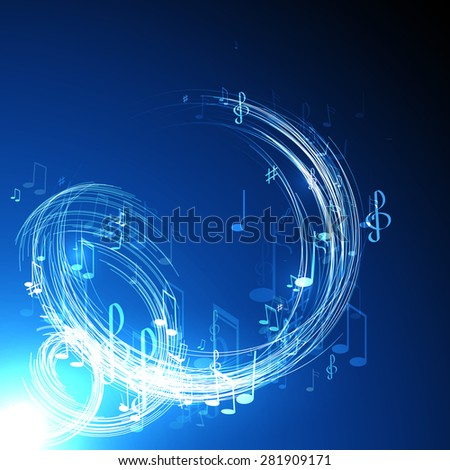 neon line  abstract  music background - stock photo