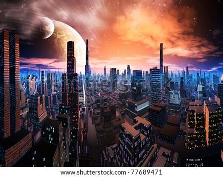 Neon Lit Cityscape on Distant World - stock photo