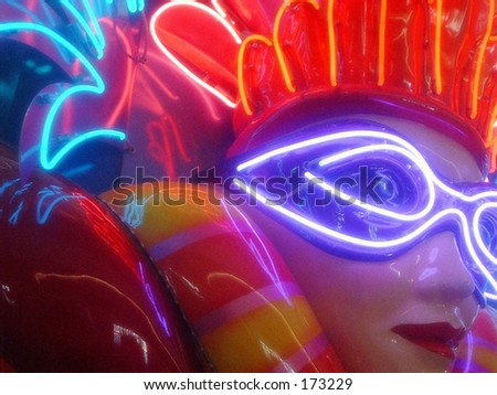 Neon Mardis Gras Face - stock photo