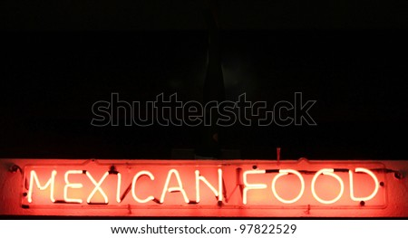 Neon Mexican Food Sign - stock photo