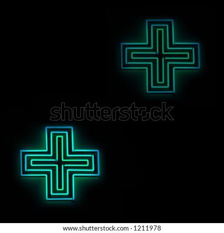 Neon pharmacy sign - stock photo