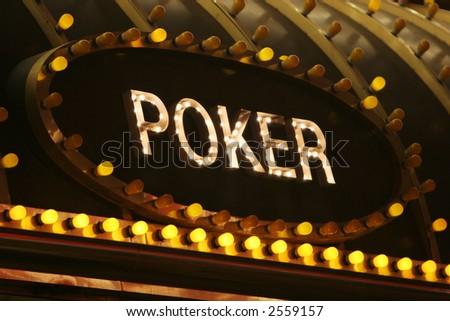 Neon poker sign - stock photo