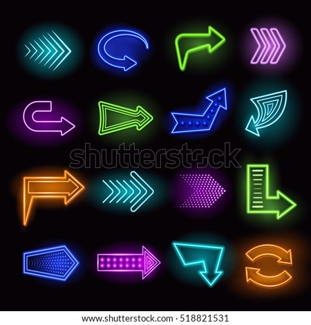 Neon Arrow Sign Stock Royalty Free #2: stock photo neon realistic arrows set showing direction on black background isolated illustration