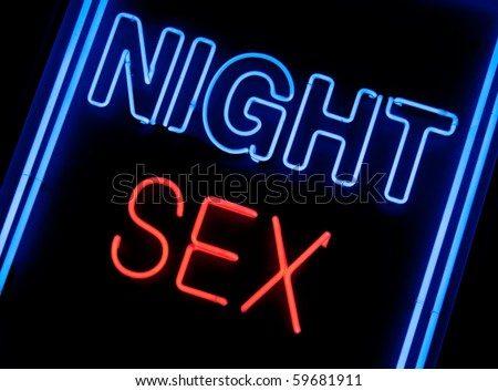 neon sex shop sign in a window - stock photo