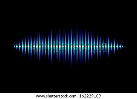 Neon shiny blue music or sound waveform - stock photo