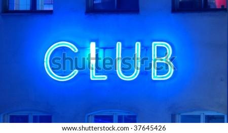 neon sign club - stock photo