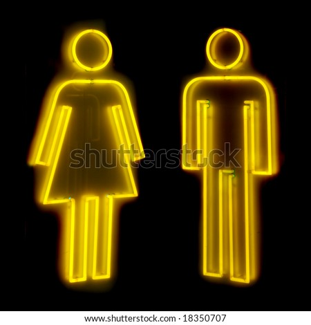 Neon sign for male and female toilets - stock photo