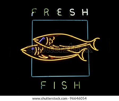 Sign of the fish stock images royalty free images for Fish neon sign
