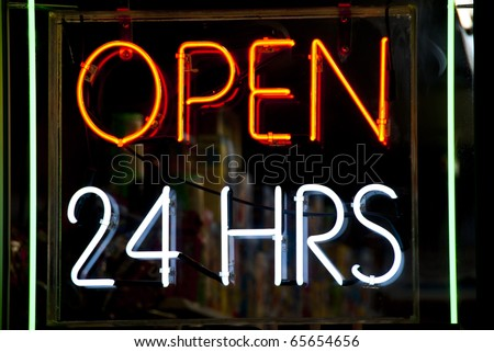 Neon sign in shop window, New York City