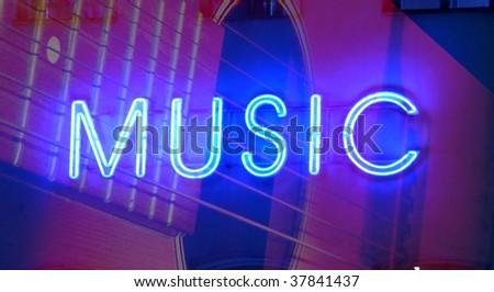 neon sign music - stock photo