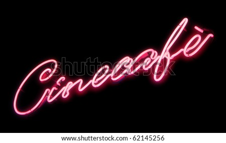 Neon sign of a Cine-cafe. Pink glow. - stock photo