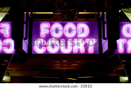 Neon Sign of Food Court - stock photo