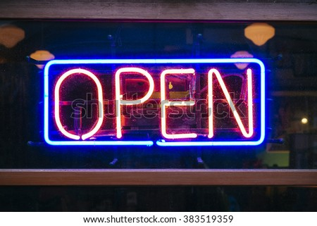 Neon Sign Open signage Light Bar Restaurant Shop Business decoration  - stock photo