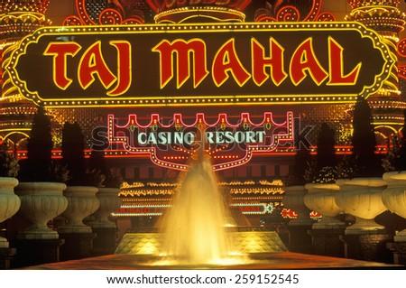Neon sign outside of Donald Trump's Taj Mahal Casino in Atlantic City, NJ - stock photo