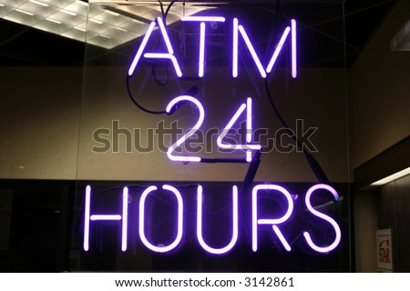 "Neon Sign series  ""atm 24 hours"" - stock photo"