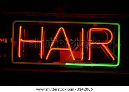 Neon Sign series  hair - stock photo