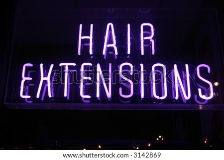 """Neon Sign series  """"hair extensions"""" - stock photo"""