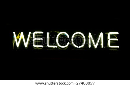 Neon sign, WELCOME - stock photo