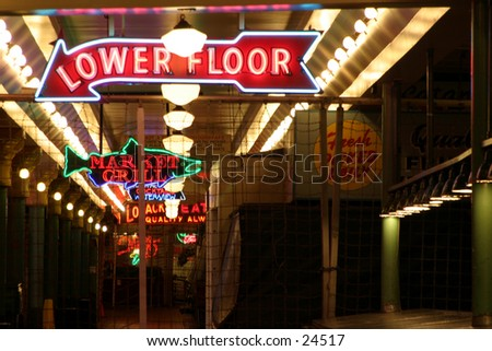 neon signs in the seattle pike place market - stock photo