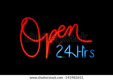 Neon Signs, letters, words, and symbols isolated on black of various colors. Neon Letters and Words are easily copied and pasted into your own words or phrases for ease of use. all generic neon signs - stock photo