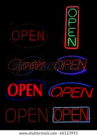 Neon Signs spelling OPEN - stock photo