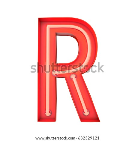 Neon style light letter r glowing stock illustration 632329121 neon style light letter r glowing neon capital letter 3d rendering altavistaventures Image collections