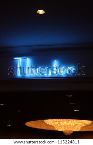 Neon Theater Sign - stock photo