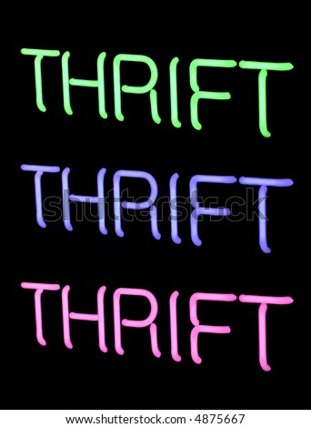 neon thrift store sign - stock photo