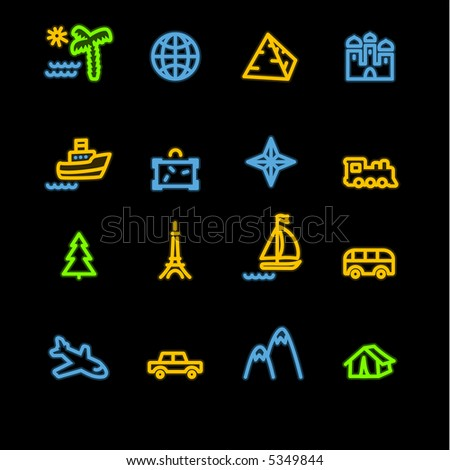neon travel icons (raster)