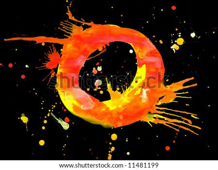 Neon watercolor paint - letter O