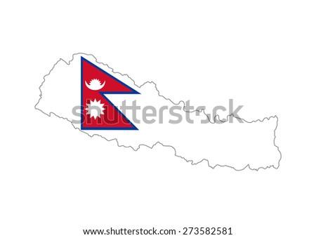 nepal country flag map shape national symbol - stock photo
