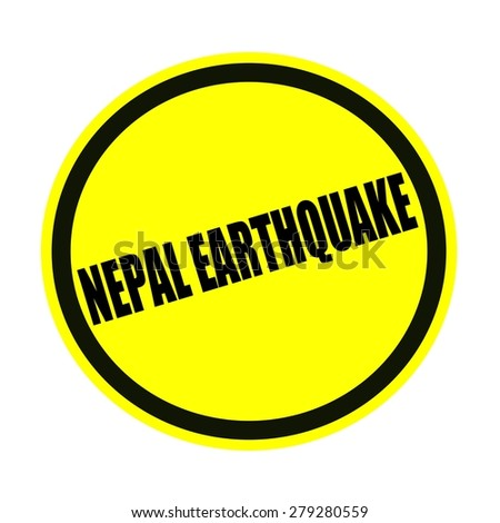 Nepal earthquake black stamp text on yellow