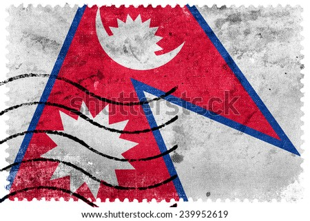 Nepal Flag - old postage stamp