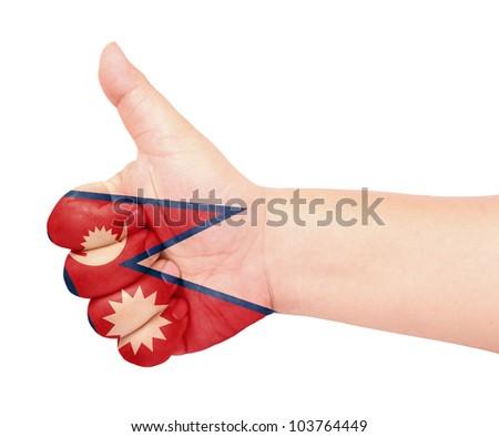 Nepal flag on thumb up gesture like icon on white background - stock photo
