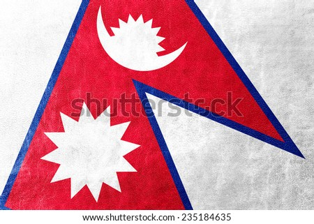Nepal Flag painted on leather texture