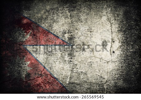 Nepal flag pattern on dirty old concrete wall texture ,retro vintage style - stock photo
