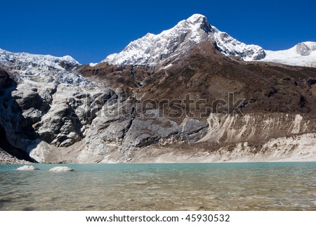 Nepal. Glacial lake at mountain Manaslu bottom