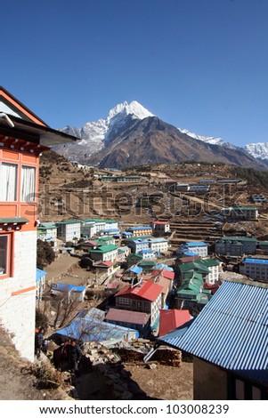 nepal/sherpa village/ - stock photo