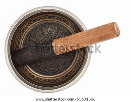 Nepal singing bowl isolated on white background - stock photo