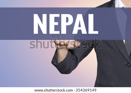 Nepal word Business man touch on virtual screen soft sweet vintage background - stock photo