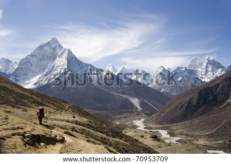 Nepalese landscape, Amadablam - stock photo