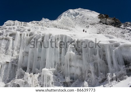 Nepalese landscape, the climbers - stock photo