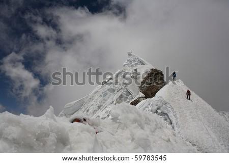 Nepalese mountain ,the climbers - stock photo