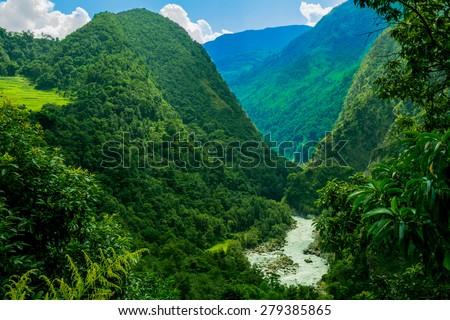 Nepalese nature scenery, Annapurna circuit.  - stock photo
